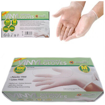 100 Gloves Medium Non Latex Powder Free Disposable Clear Home Kitchen Office Use
