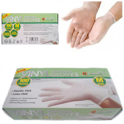 100 Medium Powder Free Non Latex Gloves Disposable Clear Home Kitchen Office Use