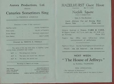 Great Yarmouth. Little Theatre. 'Canaries Sometimes Sing' Frank Pemberton  s.248