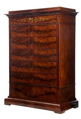 19Th Century Danish Inlaid Mahogany Tall Chest