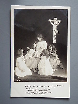 R&L Postcard: Bamforth Song, There is a Green Hill No.3, Jesus on Cross