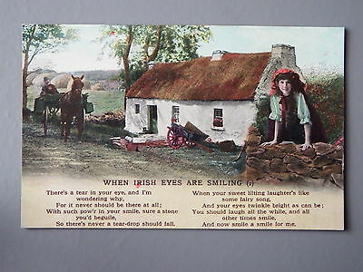 R&L Postcard: Bamforth Song, When Irish Eyes are Smiling No.1, Thatched Cottage