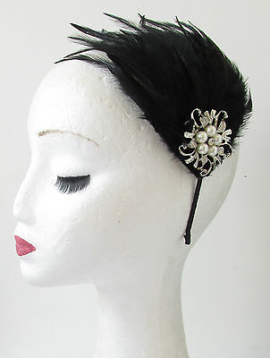 Black Silver Ivory Pearl Feather Headpiece Vintage 1920s Headband Flapper S60