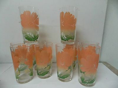 Federal Glass Co Pink Floral Retro Kitchen Drinkware Beverage Glasses s/ 10
