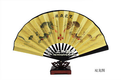 Wholesale 50PC CHINESE DOUBLE HAND FAN Large Folding Durable Fabric Bamboo Fan