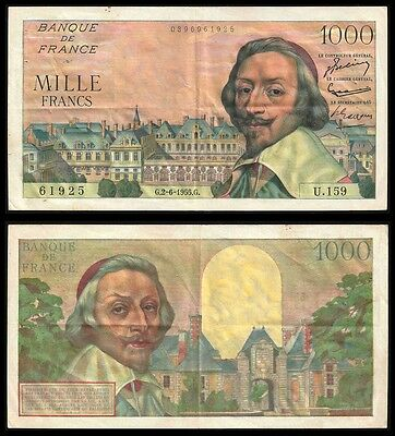 France 1000 Francs RICHELIEU 2.6.1955 P 134 VF+