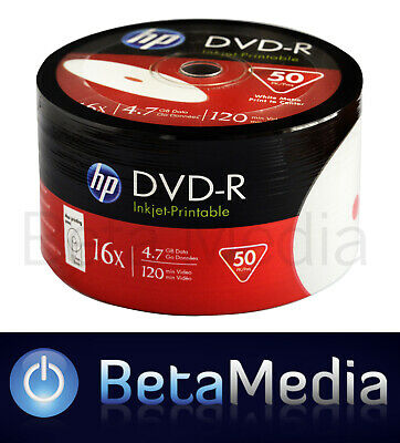 50 x HP DVD-R 16X 4.7GB full hub inkjet Printable DVD -R Blank Discs
