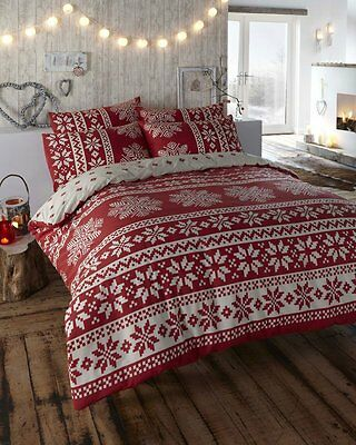 Double Bed Duvet Cover Set Alpine Winter Snow Flakes Red Ivory Festive Bedding