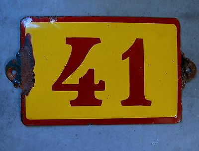 Antique Vintage French Enamel Porcelain Door House Gate Number Sign Plate 41