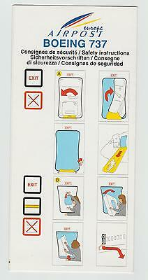 Safetycard europe AIRPOST BOEING 737, France