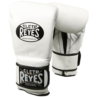 Cleto Reyes Hook and Loop Leather Training Boxing Gloves - White