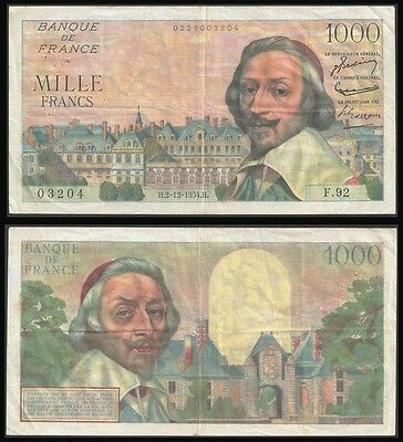 France 1000 Francs RICHELIEU 2.12.1954 P 134 VF