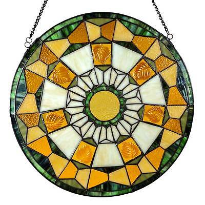 """18"""" Stained Glass Golden Leaves Window / Wall Panel #14736 River Of Goods"""