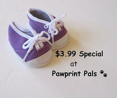 DARK PURPLE CANVAS SNEAKERS TENNIS SHOES fits American Girl /& Bitty Baby