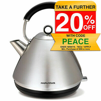 Brushed Stainless Steel Morphy Richards 1.5 Accents Traditional Cordless Kettle