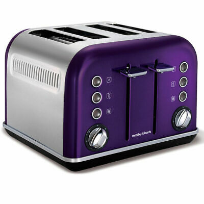 Morphy Richards 242022 Plum Chrome Accents 4 Slice Toaster Stainless Steel