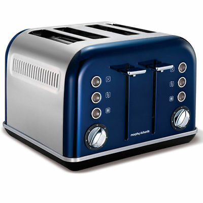 Morphy Richards 242024 Metallic Blue Accents 4 Slice Toaster Stainless Steel