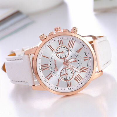 New Women Geneva Roman Numerals Faux Leather Fashion Analog Quartz Wrist Watch