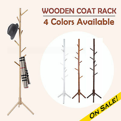 Coat Rack Clothes Stand Hanger Hat Jacket Bag Umbrella 9 Hooks Wooden AU POST