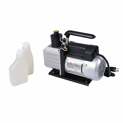 HOMCOM Dual Stage Vacuum Pump 5CFM 1/2HP Rotary Vane Deep HVAC AC Air Tool Black