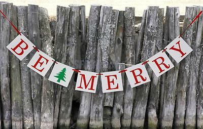 BE MERRY Banner Sign Christmas Holiday Winter Bunting Garland Party Decor