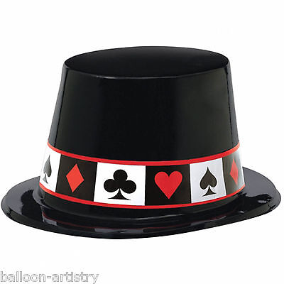 6x Classic Casino Poker Night Black Card Suit Plastic Party Top Hats