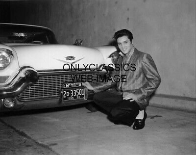 Smiling Cool Elvis Presley By 1957 Cadillac Car 12X16 Photo Poster Rock And Roll
