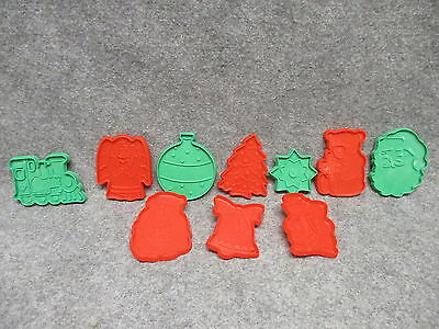 Lot of (10) Plastic Christmas Cookie Cutters Red & Green Colored Santa Snowman