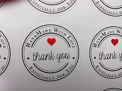 Thank you hand made with love especially for you stickers labels packaging red