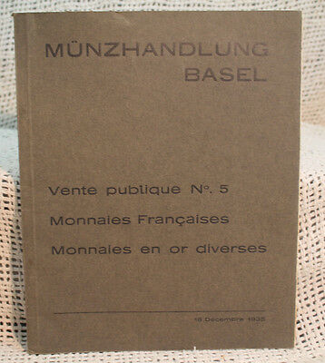rare antique old 1935 coin auction catalog MUNZHANDLUNG BASEL  FRENCH SILVER ETC