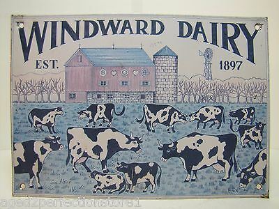 Vintage Winward Dairy Advertising Sign est 1897 spotted cows barn farm tin sign