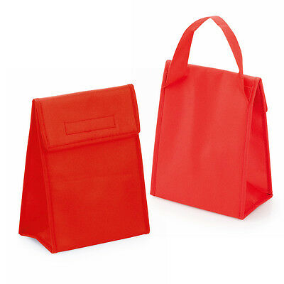 Red Non Woven Cool Bag Small Insulated Lunch Cooler Thermal Picnic Sandwich Ice