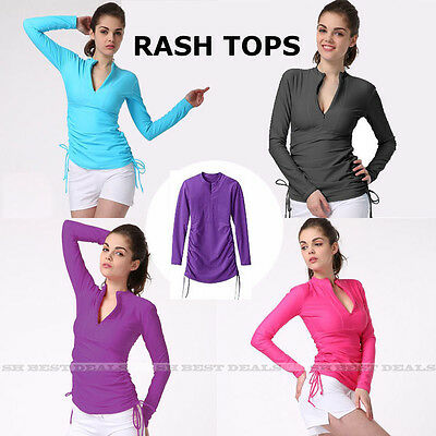 Women Long Sleeve Rash Vest Top Rashie Adjustable Swim Tunic Surf Rash Guard