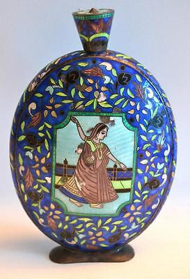 19th Century Indian Silver and Enamel Large Flask