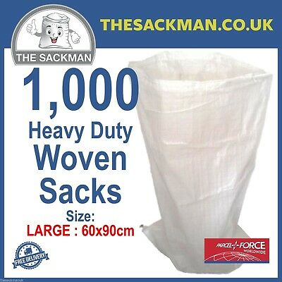 1000 Woven Polypropylene Large Sacks Heavy Duty Size 60x90cm, Strong Woven, Bags