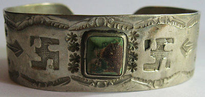 Vintage Navajo Indian Stamped Whirling Logs Silver Turquoise Cuff Bracelet