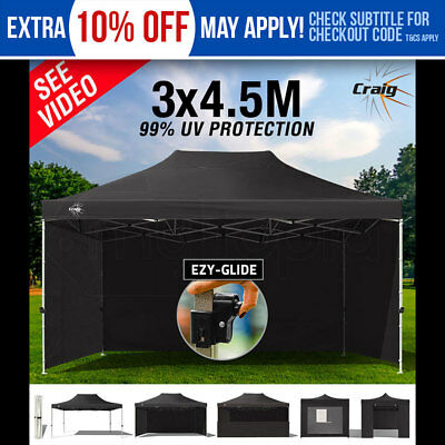 NEW CRAIG 3x4.5m Gazebo Outdoor Black Canopy Pop Up Tent Folding Marquee Party