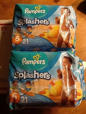 Pampers - Splashers Swim Diapers SIZE 6,  37+ LB  X 2 PACKAGES (42CT) SEALED