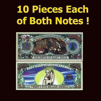 SET USA Fantasy 20 notes (10 pieces of each note) Jesus, Christmas, Angels