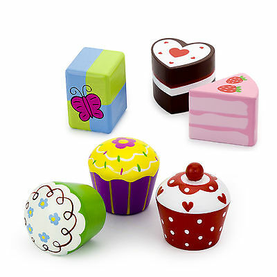 Six Wooden Cup Cakes, Muffins, Buns, Gateaux for Pretend Tea Party Play  #51025