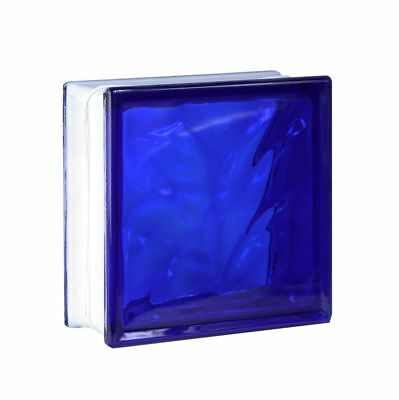 1 piece Glass Blocks Glass Bricks Clear Wave Cloudy Blue 19x19x8cm