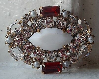 VINTAGE CZECH HANDMADE RHINESTONE BUTTON~RED~CLEAR~WHITE OPAQUE~OVAL SHAPE