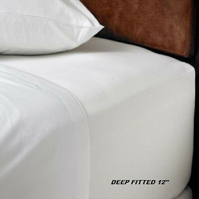 1 NEW KING SIZE WHITE HOTEL FITTED SHEET COTTON BAY HOTEL 78x80x12 DEEP POCKET