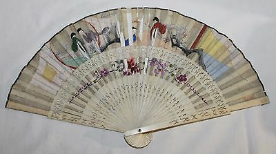 Antique Chinese 19Th Century Carved Sticks Hand Painted Scene Fan
