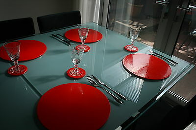 Bright red colour best placemats. dishwasher safe. intech gecko. everlasting
