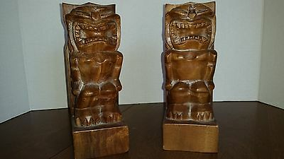 "Vintage Pair of  wooden TIKI book ends 8""x3"" in PUC"
