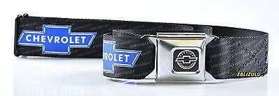 Chevrolet Bowtie Logo with Text Repeat Seatbelt Style Belt Buckle