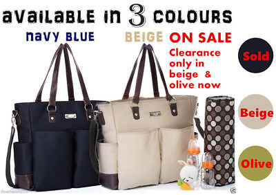 Carry All baby diaper nappy changing bag 2 pcs - beige, navy,olive