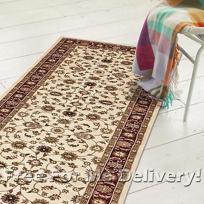 ROSA TRADITIONAL CREAM RED CLASSIC FLOOR RUG RUNNER 80x400cm **FREE DELIVERY**