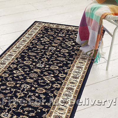 ROSA TRADITIONAL NAVY BLUE CREAM CLASSIC FLOOR RUG RUNNER 80x400cm FREE DELIVERY